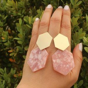 Pink Tortoise Geometric dainty acrylic earrings
